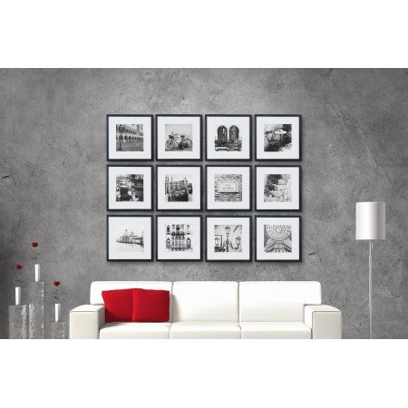 12 Piece 12 Inchx12 Inch Black Frame Kit Matted To 8 Inchx8 Inch Picture Frame Sets Picture Frame Wall Picture Frames