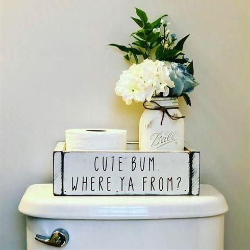 Photo of Bathroom Decor / Cute Bum Where You From /Toilet Paper Storage Box / Toilet Paper Holder / Bathroom Tray / Farmhouse / White Wood Box