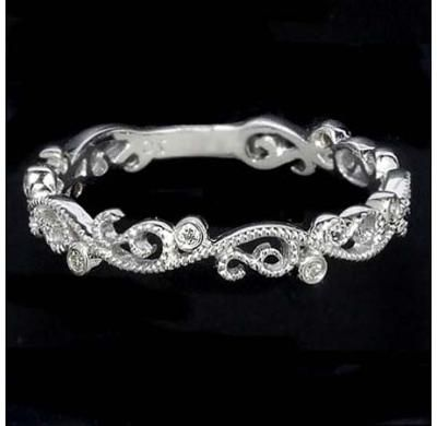 PLATINUM ART VINTAGE WEDDING BAND DIAMOND ANTIQUE RING