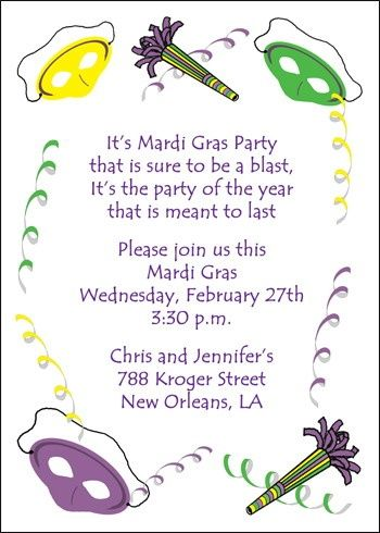 your customized party invitations from invitationsbyu might include that guests arrive in their mardi gras attire - Customized Party Invitations