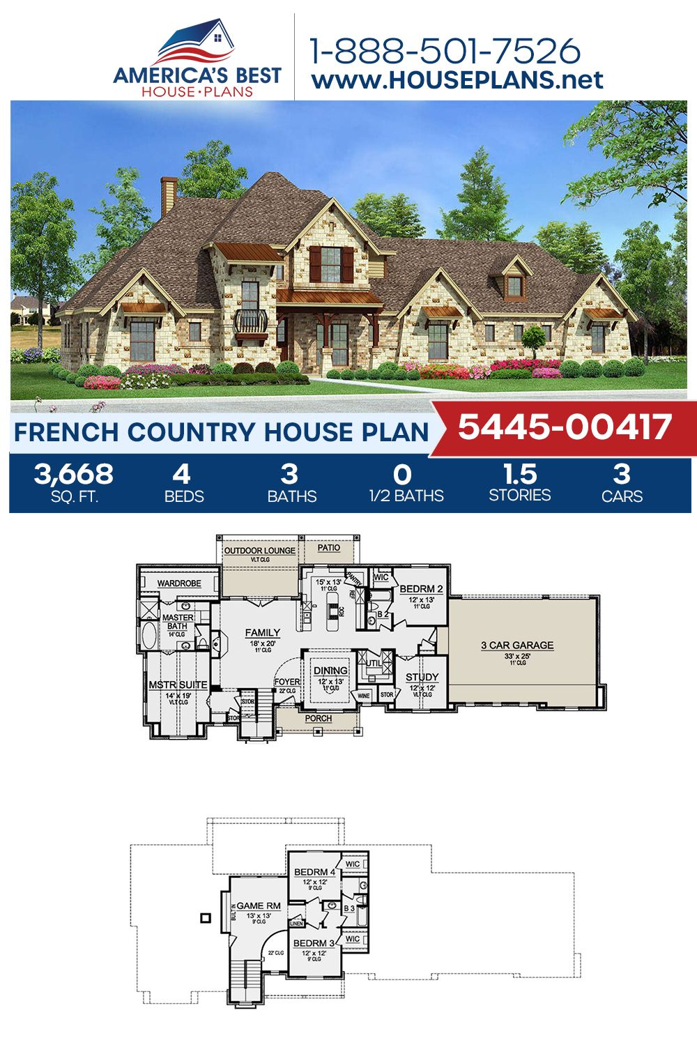 House Plan 5445 00417 French Country Plan 3 668 Square Feet 4 Bedrooms 3 Bathrooms In 2021 French Country House Plans French Country House Victorian House Plans