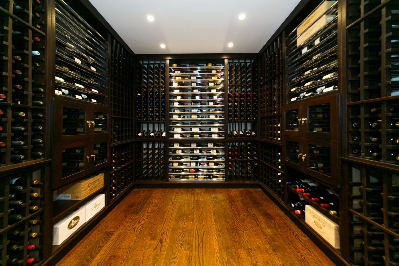 Modern Interior Home Wine Room Design Ideas With U Shaped Arrangement  Elegant Black Wood Wine Wall Cabinet Furniture And Beautiful Small Rounded  Ceiling ...