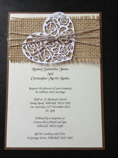 50 Handmade Rustic Vintage Shabby Chic Hessian Wedding Invitations Evening In Home Furniture Diy Supplies Cards