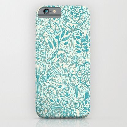 iPhone & iPod Case featuring Detailed Floral Pattern in Teal and Cream