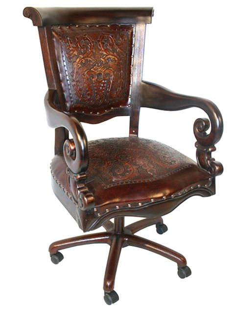 Surprising Tooled Leather Western Desk Chair In 2019 Western Alphanode Cool Chair Designs And Ideas Alphanodeonline