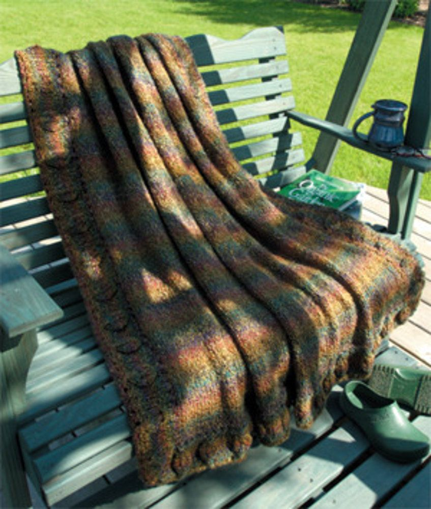 Knitted Leafy Border Afghan in Lion Brand Homespun - 974A. Discover ...