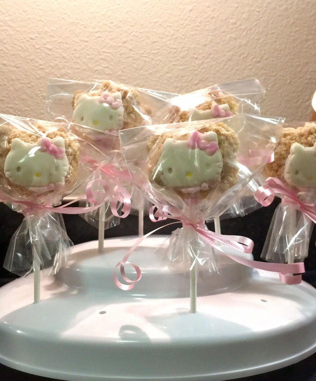 Hello kitty rice krispie baby shower treats baby shower