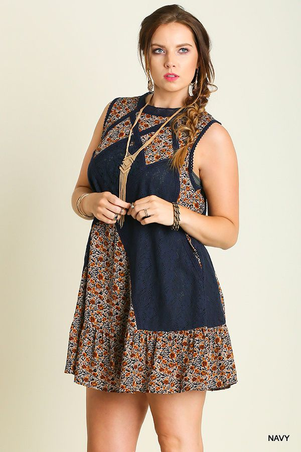 bd2fdfe1d4f CAFFEINE CHIC UMGEE XL BLUE SHEER COUNTRY WESTERN FLORAL PRINT TOP TUNIC  DRESS  Umgee  Sundress  Casual