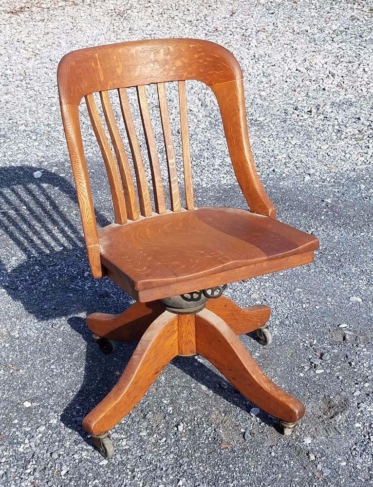 Vintage Antique Tiger Oak Office Banker Lawyer Teacher Wood Swivel Desk  Chair Desk Chairs, Tiger
