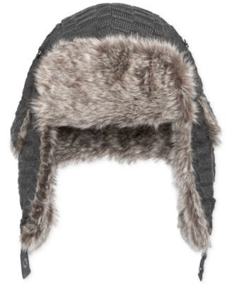 Sean John Ribbed Faux-Fur-Lined Trapper Hat  4761495bce9