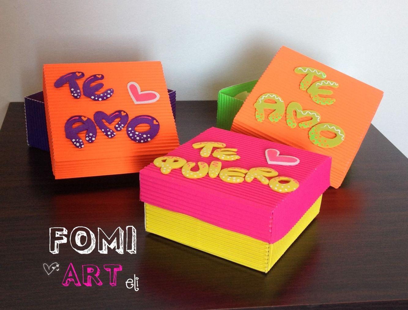 Cajas con mensajes en fomi regalos pinte - Manualidades cajas decoradas ...