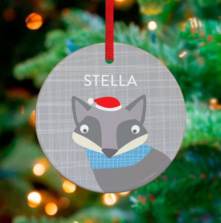 Happy Fox Personalized Ornament By Vicky Barone Products