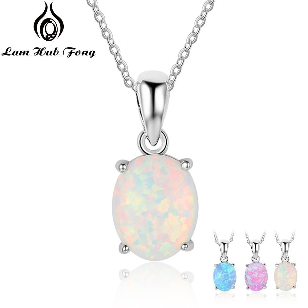 Women 925 Sterling Silver Pendant Necklaces Created Oval White Pink Blue Opal Necklace Birthday Gifts for Wife Lam Hub Fong  SHOP THE NATION