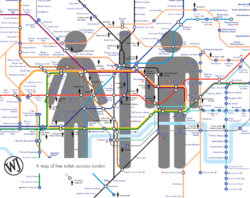 Tube Toilet Map 101 things to do in London | next vacation | London map, London