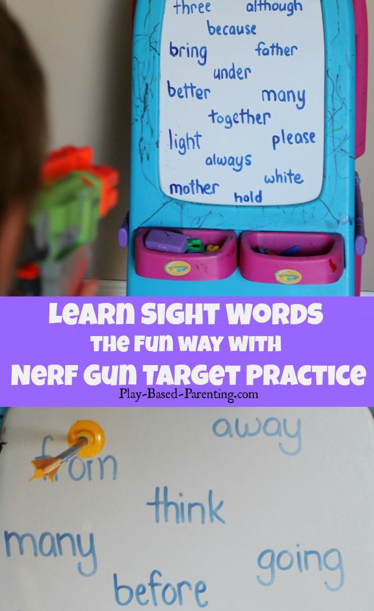 Sight Words Game - Nerf Gun Target Practice. Play Based Parenting ...