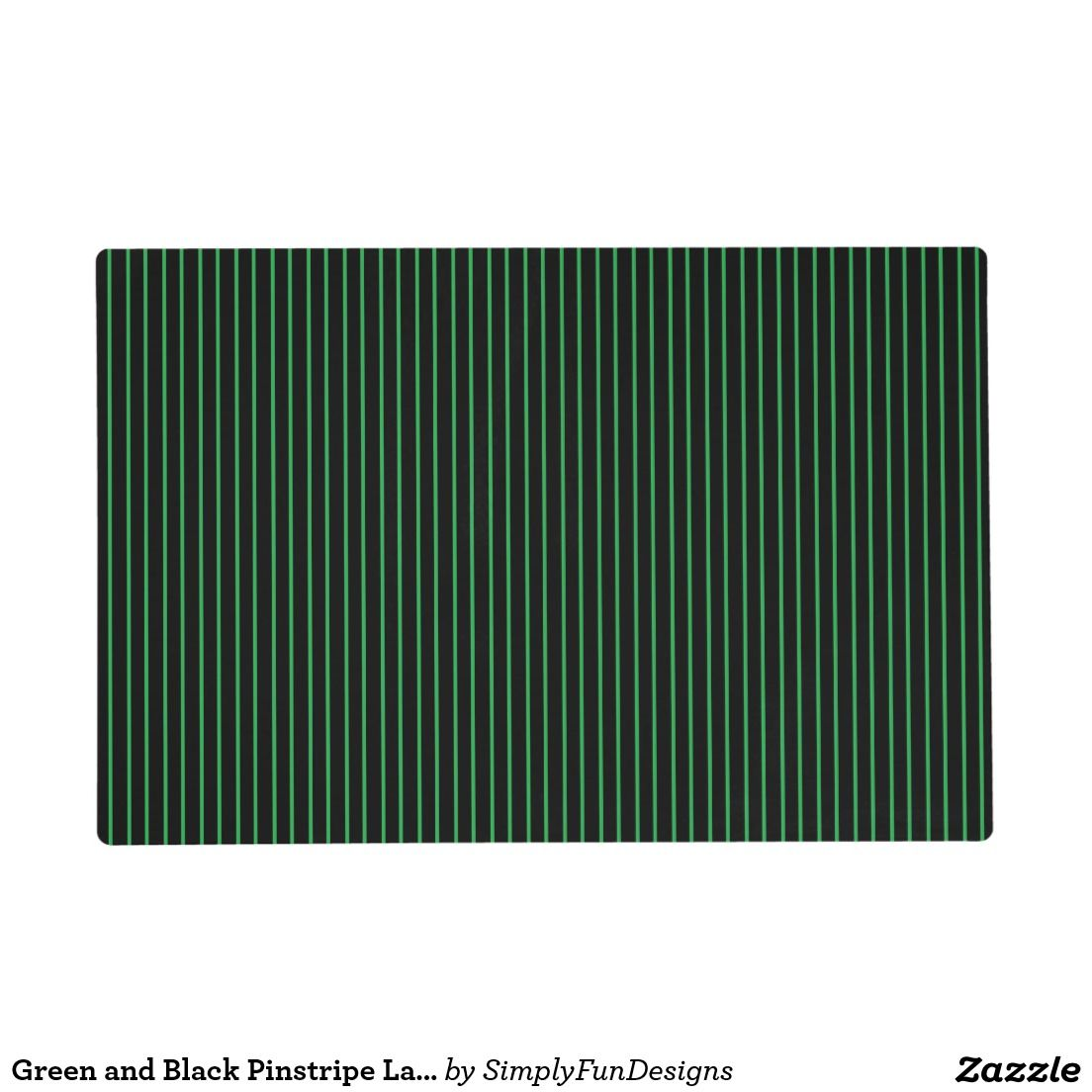 Green and Black Pinstripe Laminated Placemat