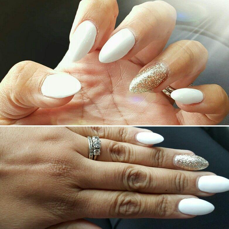 White almond nails w/gold glitter accent | Nail Art Community Pins ...