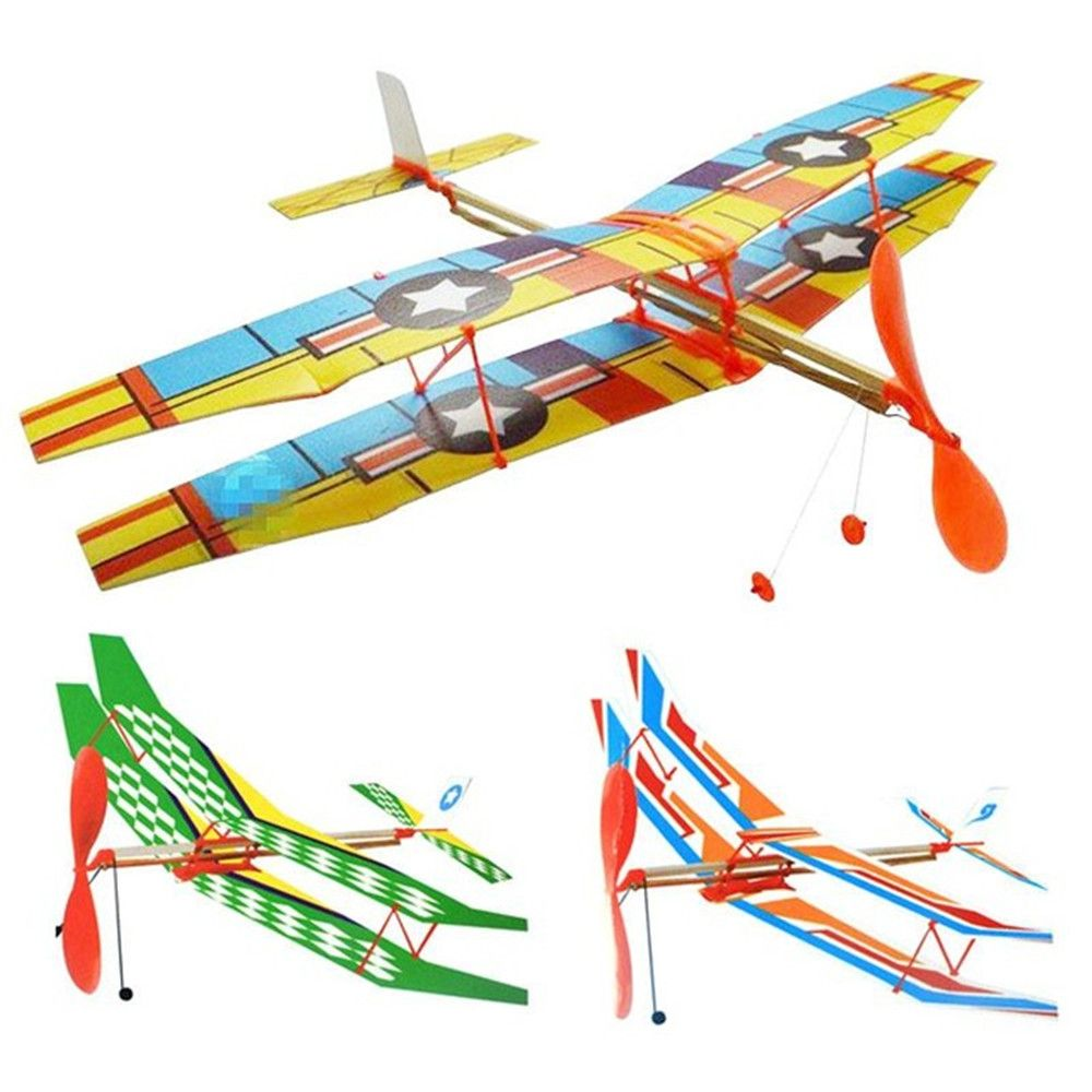 Diy Hand Throw Flying Glider Plane Toy Elastic Rubber Band Powered
