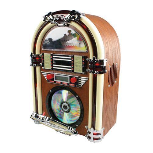 Small Mini Table Top Retro Jukebox - CD Player & AM/FM Radio