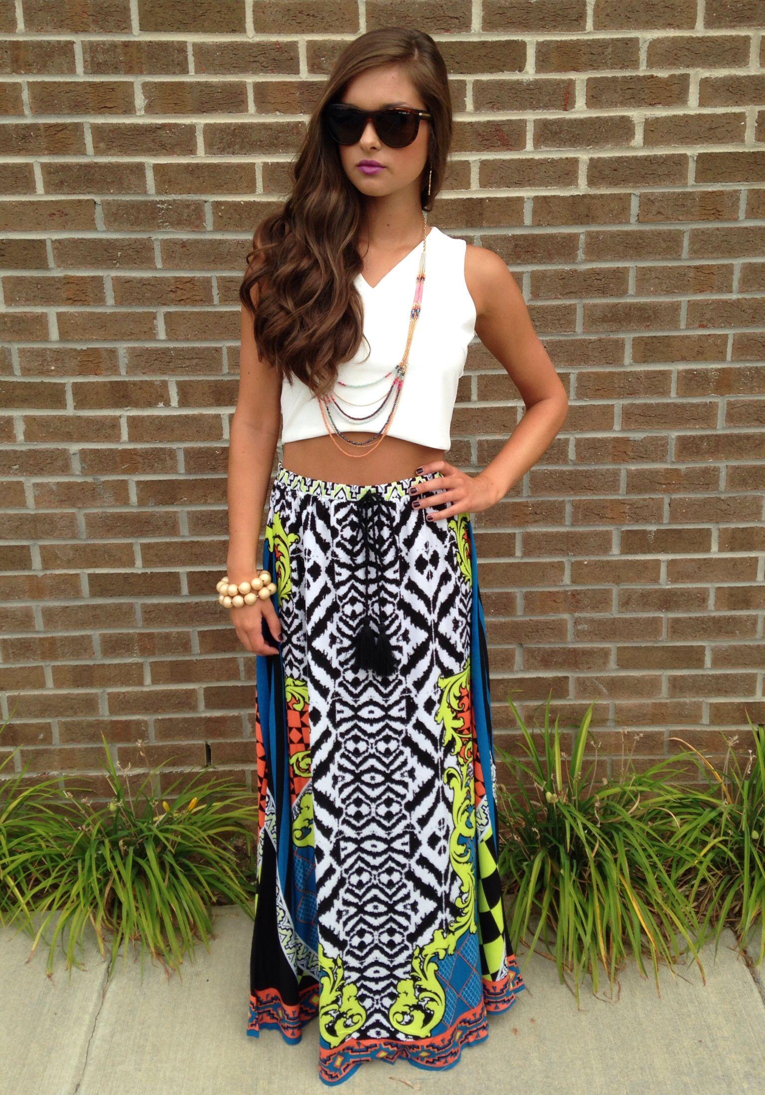 Pattern maxi skirt