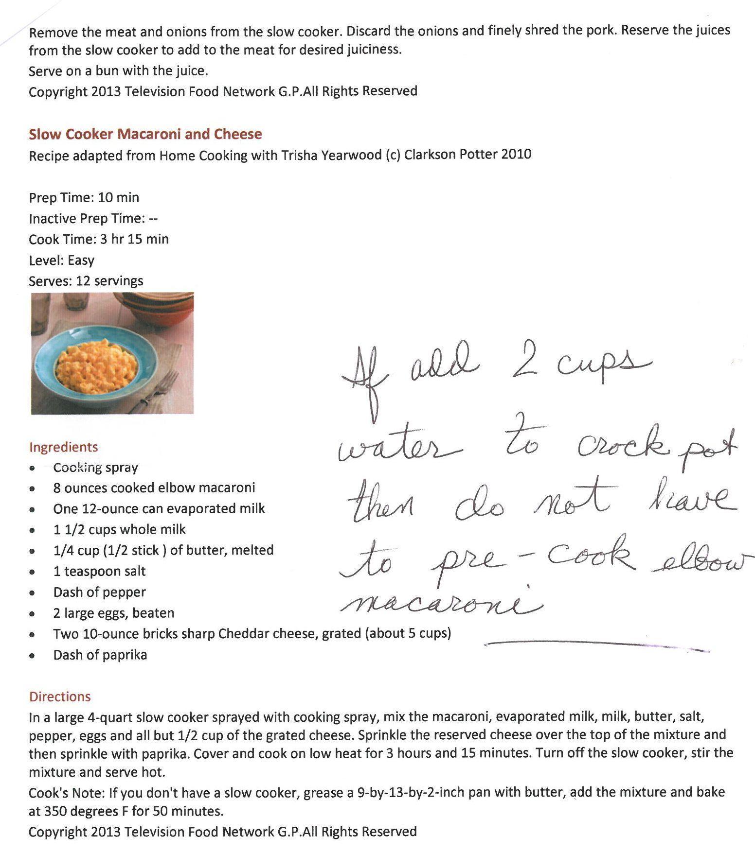 Crockpot Recipes, Mac And Cheese