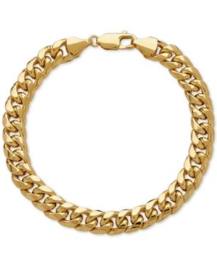 Italian Gold Men S Cuban Link Bracelet In 10k Gold Reviews Bracelets Jewelry Watches Macy S In 2020 Bracelets For Men Link Bracelets Mens Gold Bracelets
