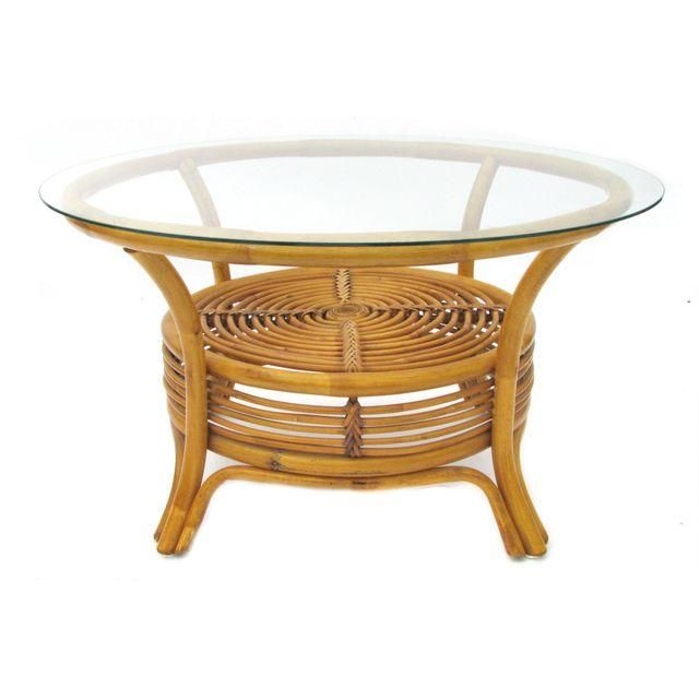 Small Scale Round Rattan Coffee Table With Gl Top