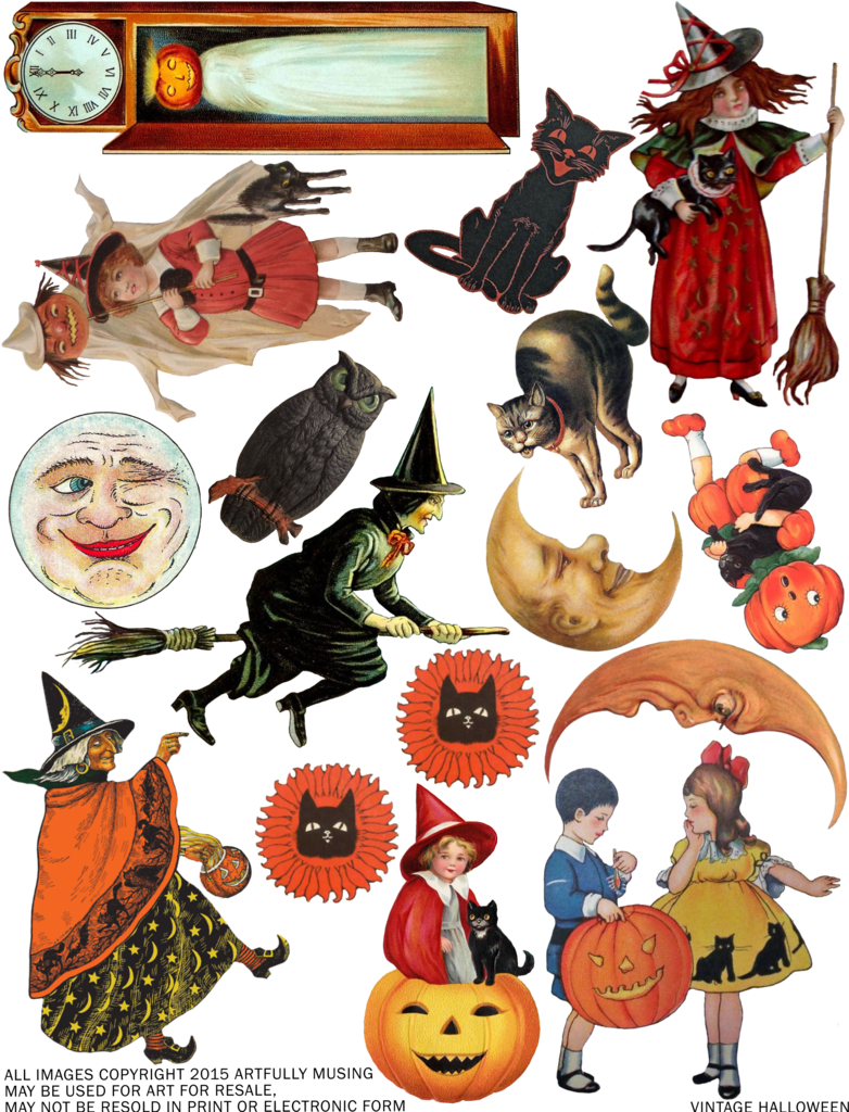artfully musing free vintage halloween collage sheet happy