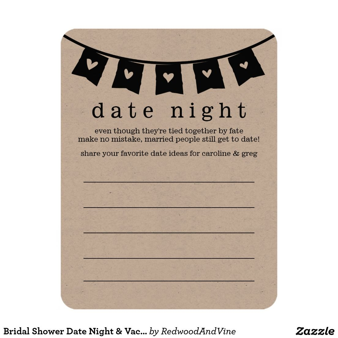 Bridal Shower Date Night & Vacation Idea Cards |Beautiful bridal shower invitations to fit your bride's style! Shop the hundreds of wedding and bridal shower invitation designs on Zazzle, where you can completely customize them! Unique designs made for the unique bride - boho, bohemian, whimsical, rustic, vintage, romantic, fun, lingerie shower, unique, colorful, pastel, custom, glitter, pink, floral, watercolor, tea party, brunch and bubbly, modern, classic, chic - the possibilities are…