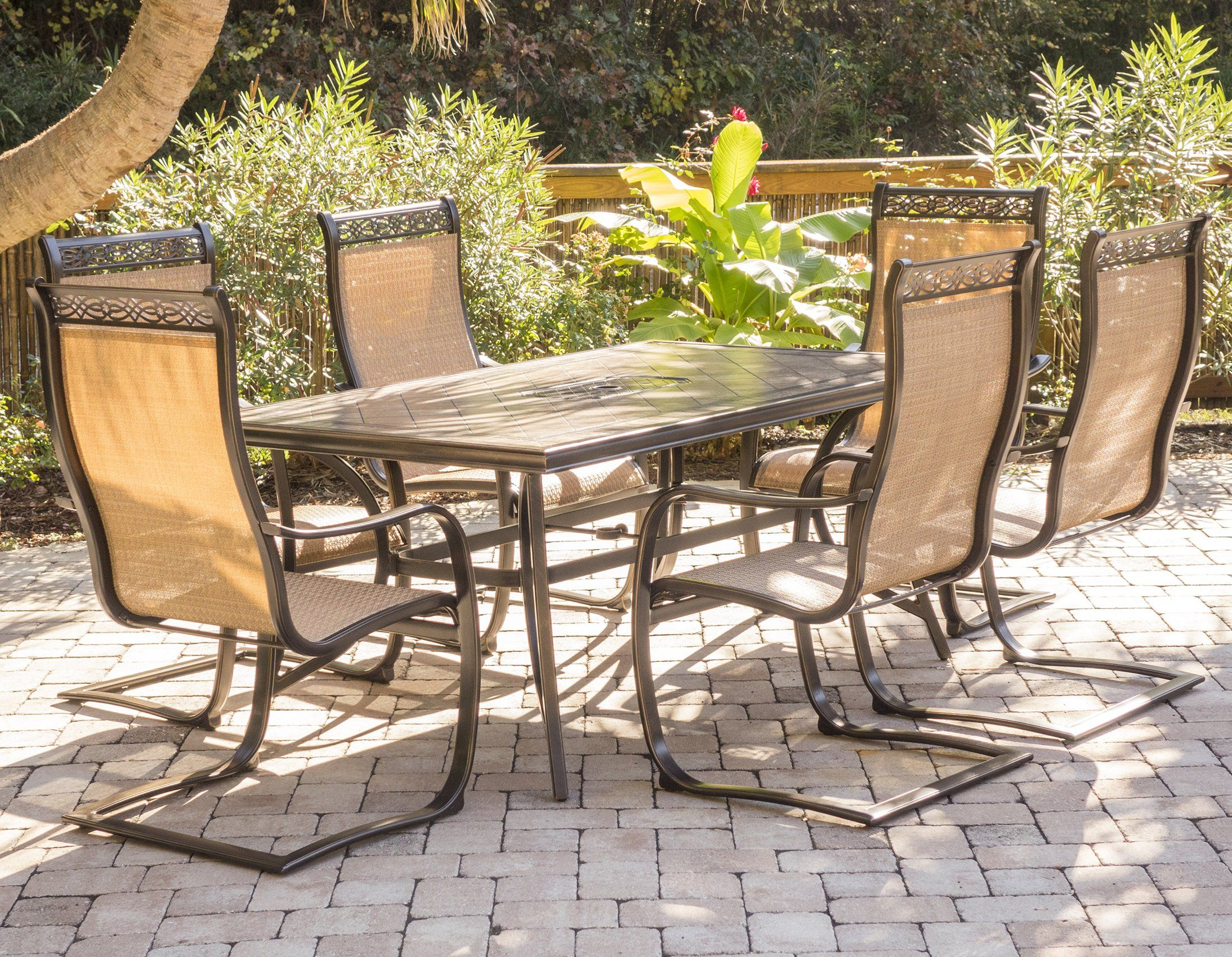 Hanover Monaco 7 Piece Outdoor Dining Set Seats 6