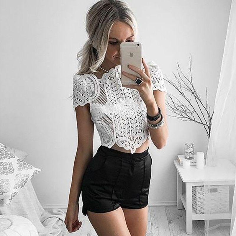 c284a7e03d617 BONGOR LUSS Summer Style Elegant Black Lace Crochet Crop Top Girls Short  Sleeve White Blouse Women Sexy Hollow Out Tank Tops