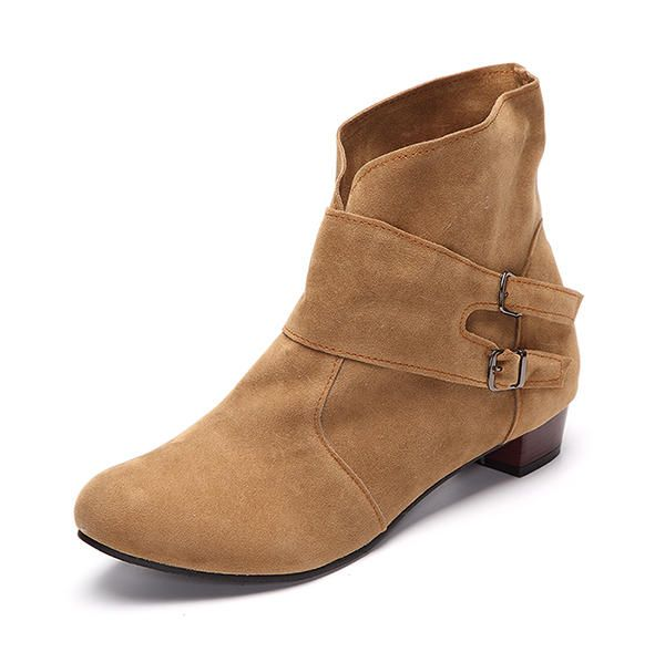 d9243843050 US Size 5-12 Women Short Boots Casual Outdoor Slip On High Heel Shoes -