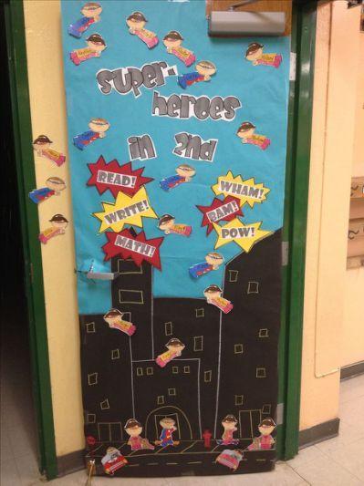 Super Heroes Decor For Classroom ~ Classroom door ideas super hero theme pinterest