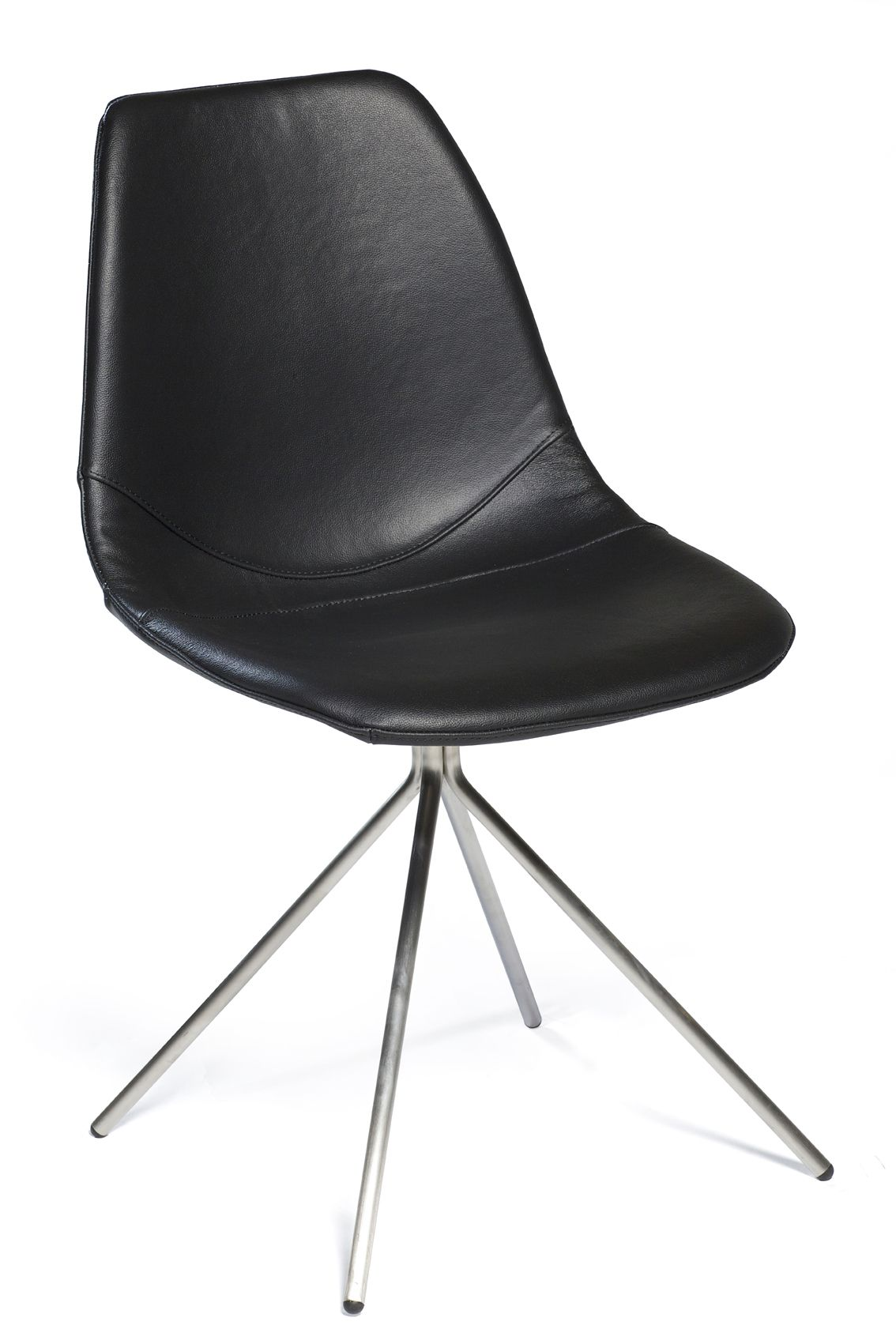 Spider Chair With Black Leather And Stainless Steel Legs