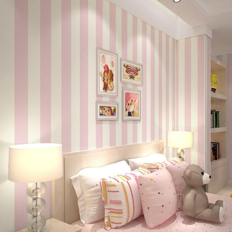 Pink Stripe Wall Paper For Walls Vertical Striped Wallpapers 3d For Girls Room Non Woven Wallpa Striped Walls Bedroom Pink Striped Walls Pink Bedroom For Girls
