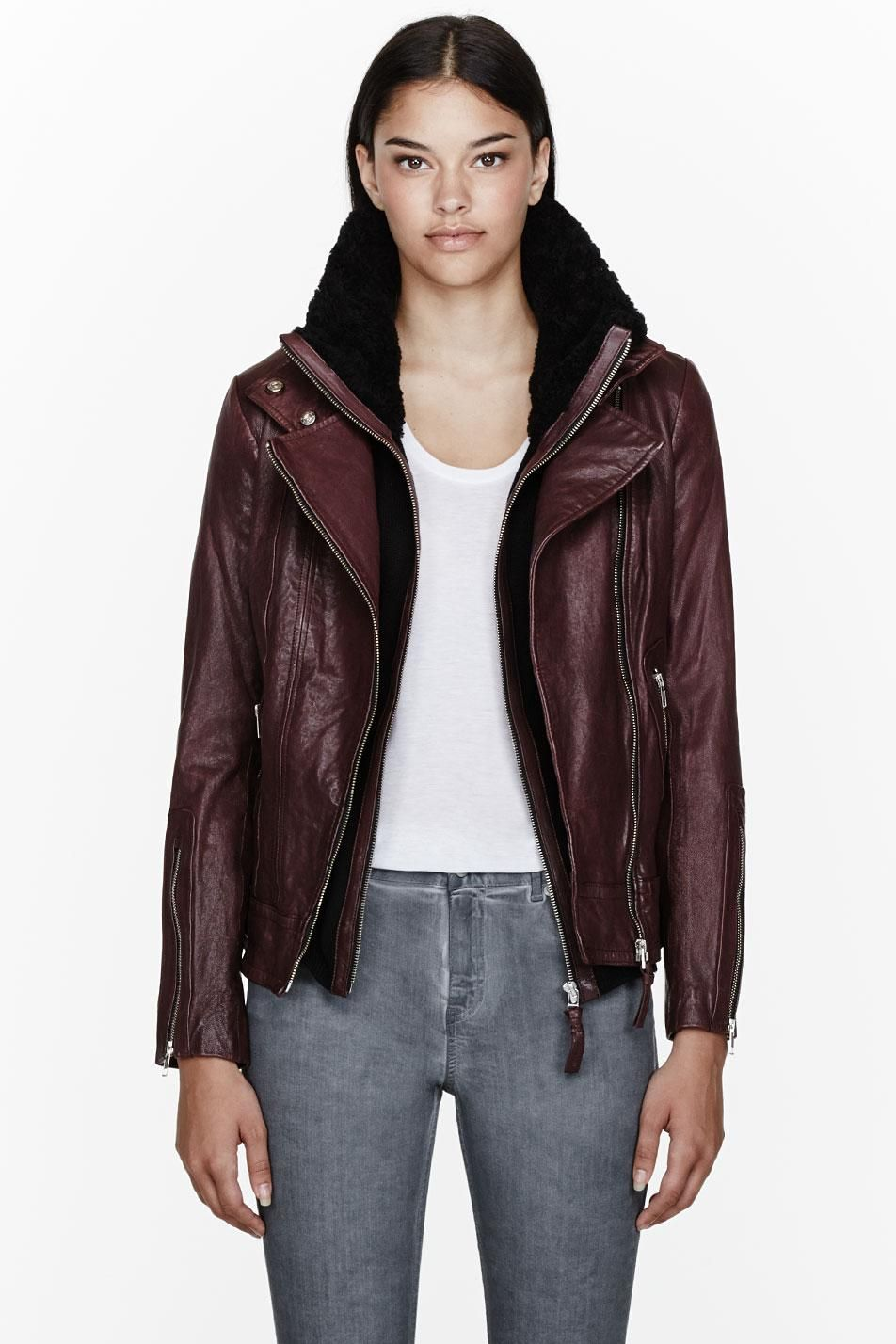 Mackage Burgundy Leather Layered Veruca Jacket (With