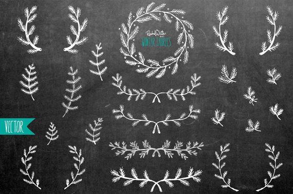 Chalkboard Winter Laurels Vector Illustrations - 20 Images - AI EPS PNG - Instant Download | rachelwhiteart