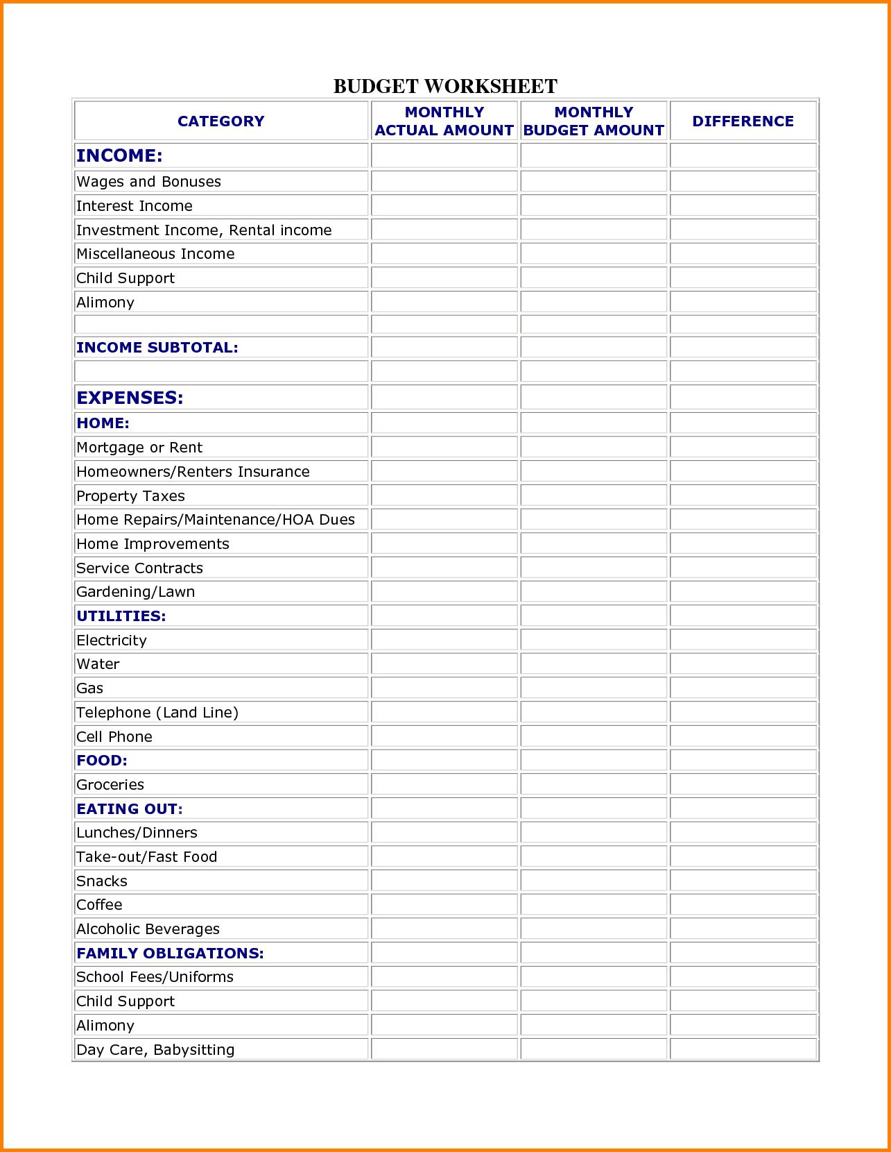Worksheets Family Budget Worksheets family budget template printable best monthly free worksheet household