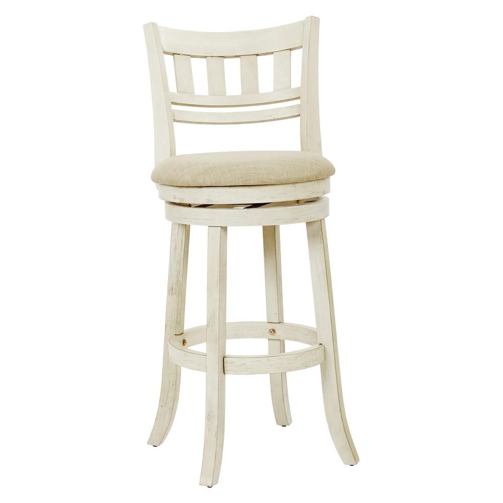 Osp Home Furnishings Swivel Stool 30 In Antique White With