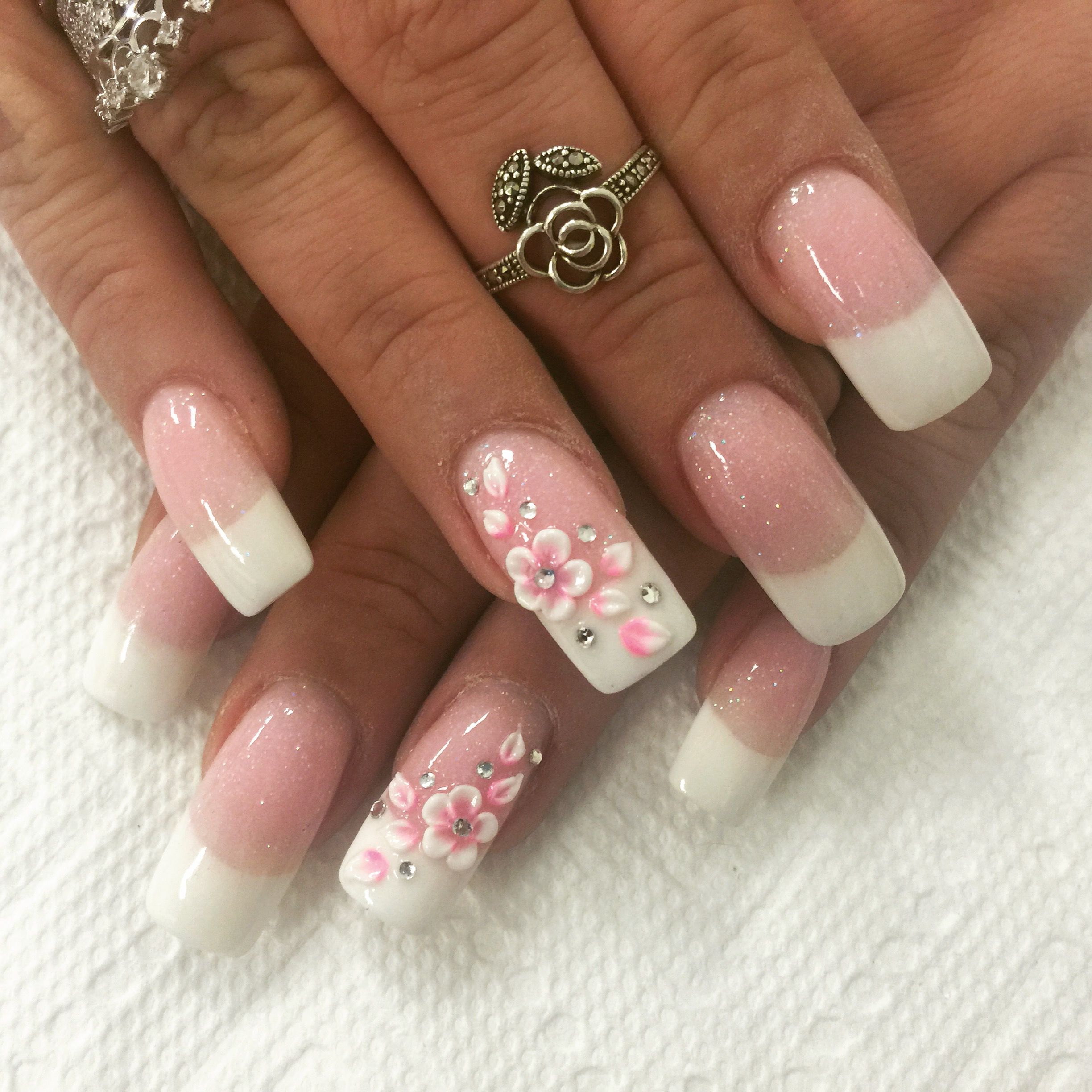 Pink and white nails design 3d flower rhinestone French ...