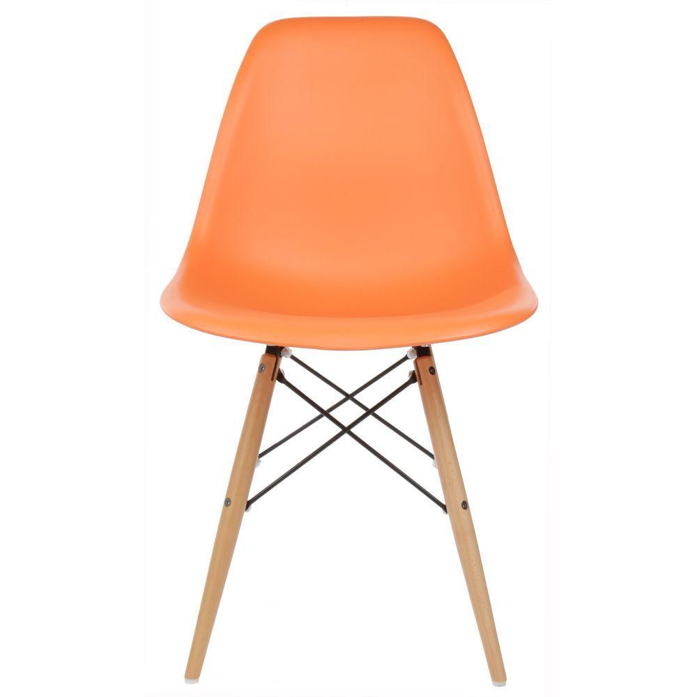 Handmade Retro Molded Plastic Wood Eiffel Legs Orange Dining Chair