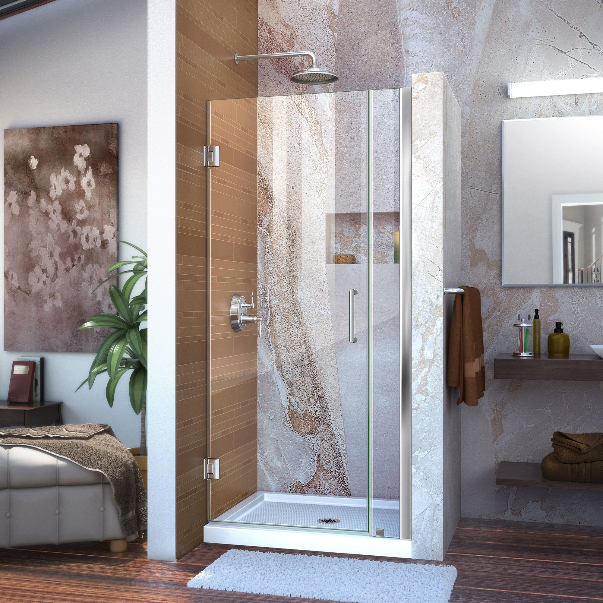 Dreamline Unidoor 29 30 In W X 72 In H Frameless Hinged Shower