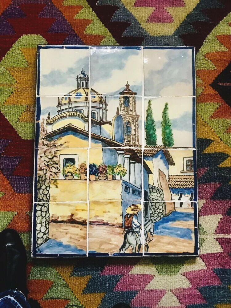 Details About Vtg Ysauro Uriarte Mexican Puebla Tile Mural Iron
