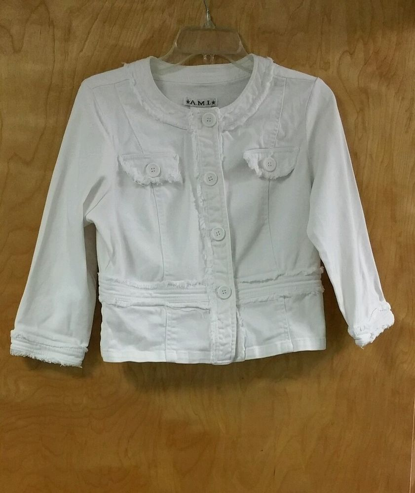 A.m.i. White Jacket Size M Stretch Denim Adorable Details #AMI #JeanJacket