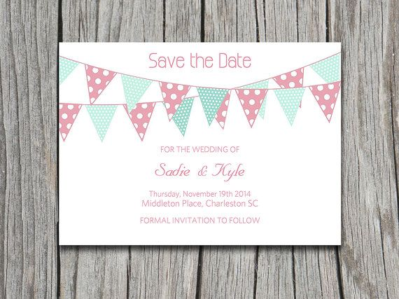 instant download bunting rustic save the date bridal shower invitation wedding invite microsoft word
