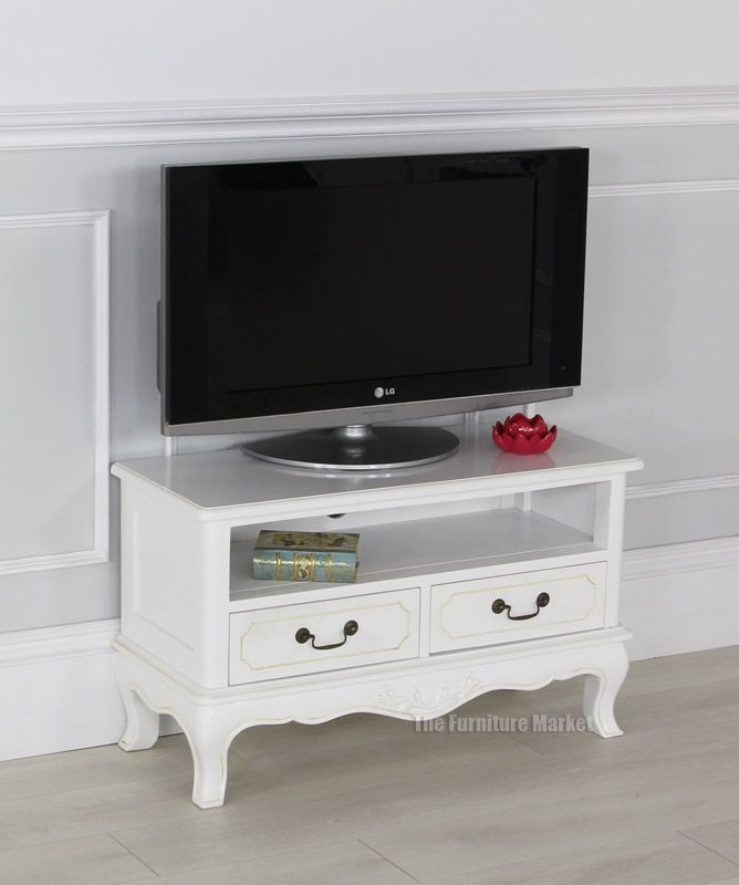 French Chateau White Painted Small TV Unit