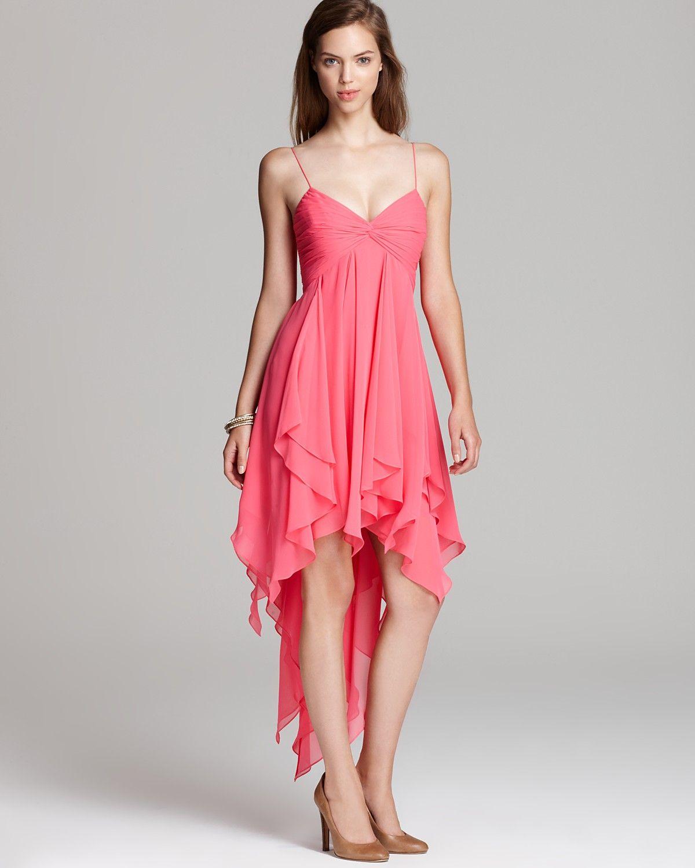 Aqua handkerchief dress in Watermelon (polyester). Spaghetti straps ...