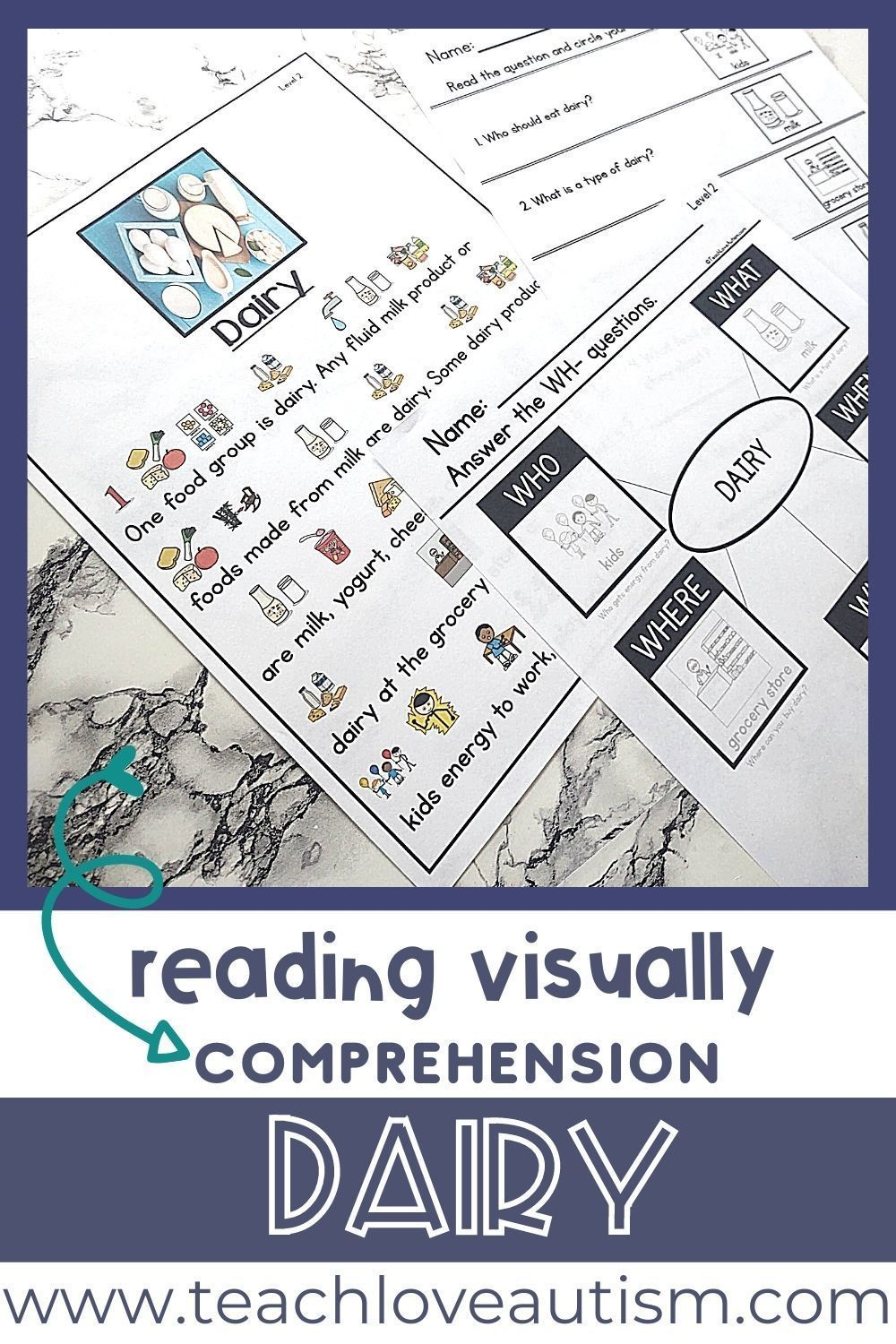 Dairy Reading Visually Comprehension Shop Teach Love Autism In 2021 Autism Classroom Activities Reading Comprehension Skills Special Education Elementary [ 1500 x 1000 Pixel ]