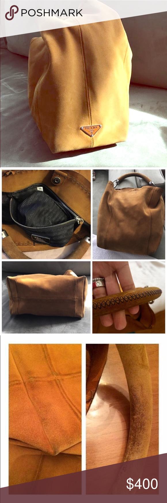100% Authentic PRADA Suede Hobo Bag Auth PRADA Daino Leather Woven Handle Brown  Handbag Suede 1957dbf04d