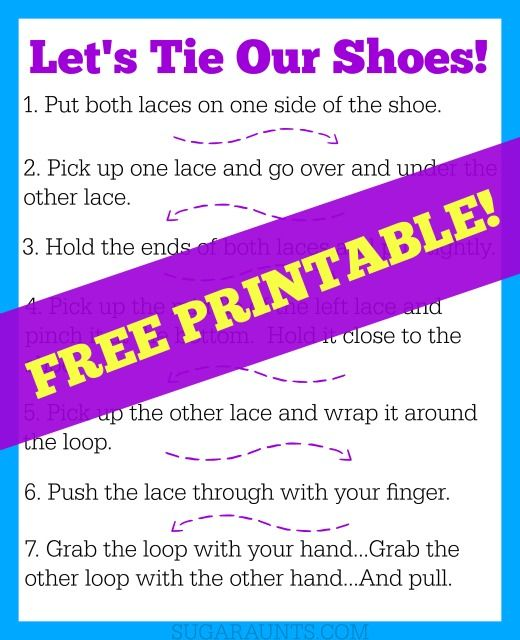 Shoe tying tips and tools for kids free printable activities shoe tying tips and tools for kids ccuart Image collections
